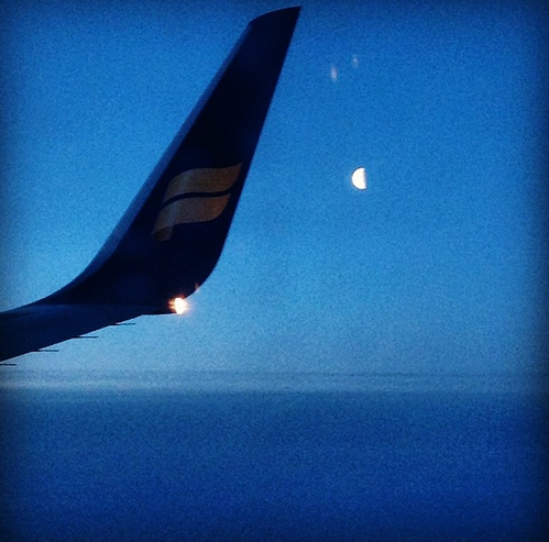 half moon over iceland. 21 april 2014.